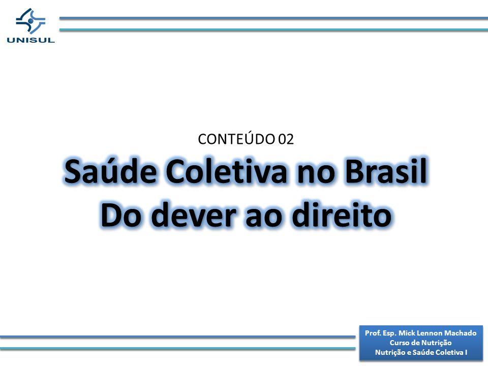 Saúde Coletiva no Brasil Do dever ao direito