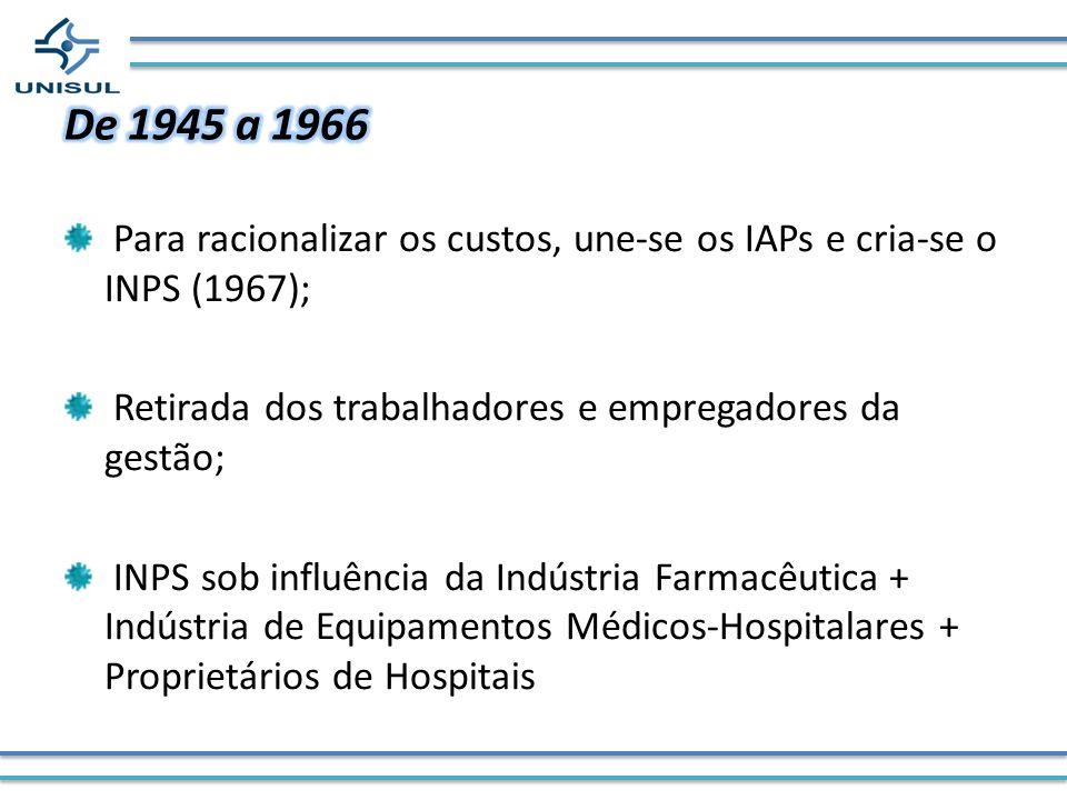 De 1945 a 1966 Para racionalizar os custos, une-se os IAPs e cria-se o INPS (1967); Retirada dos trabalhadores e empregadores da gestão;