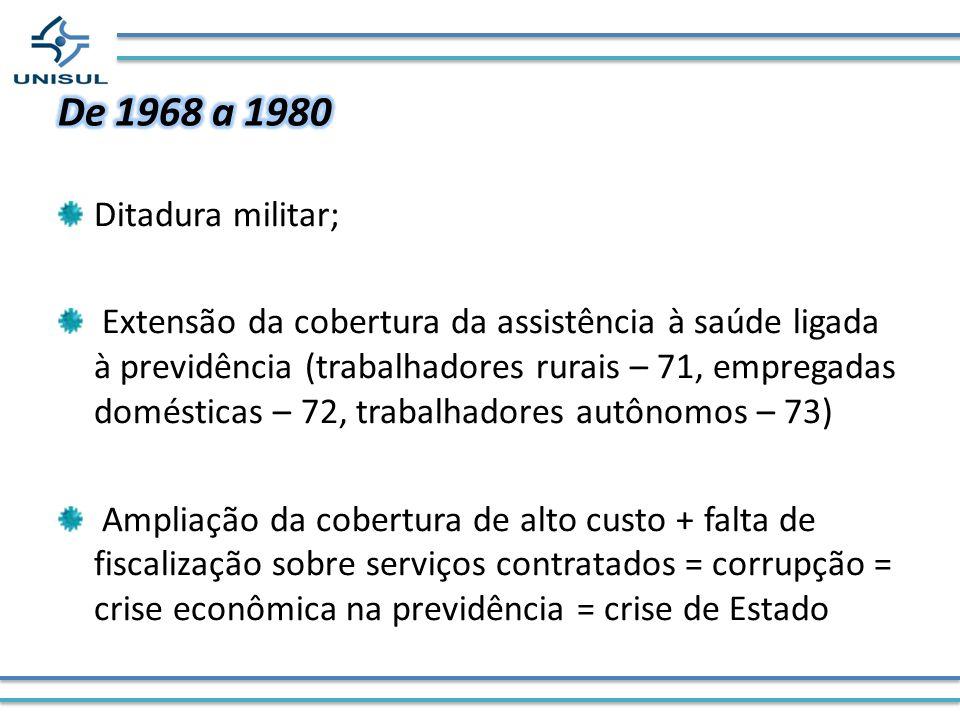 De 1968 a 1980 Ditadura militar;