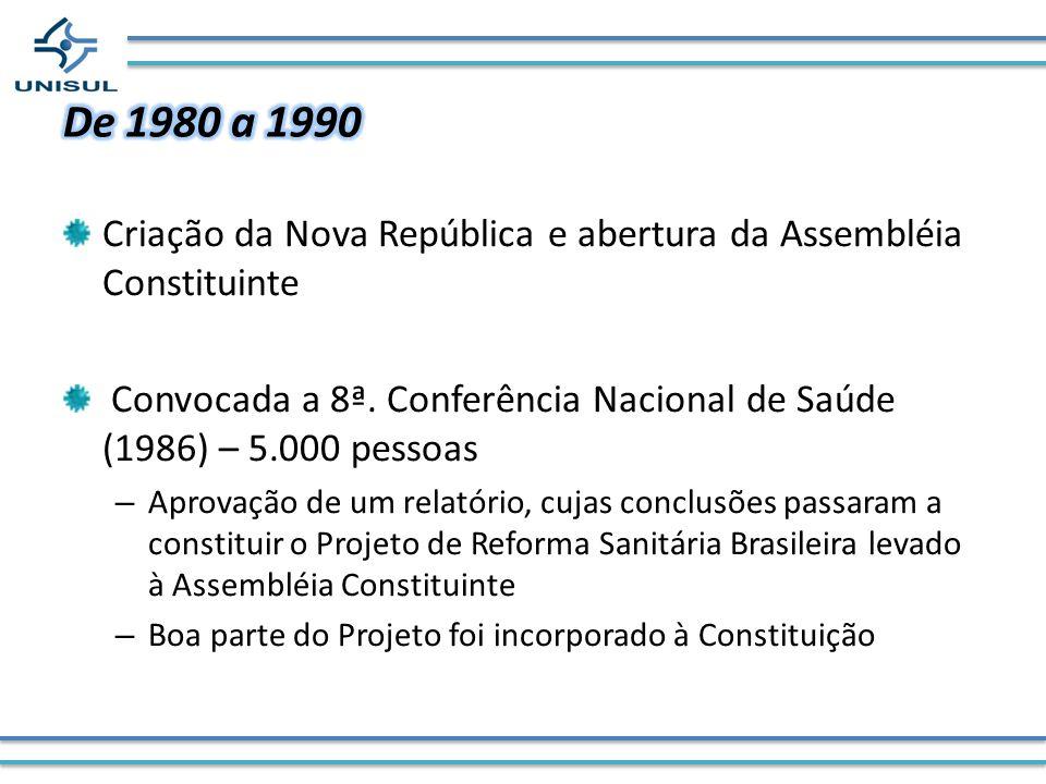 De 1980 a 1990Criação da Nova República e abertura da Assembléia Constituinte. Convocada a 8ª. Conferência Nacional de Saúde (1986) – 5.000 pessoas.