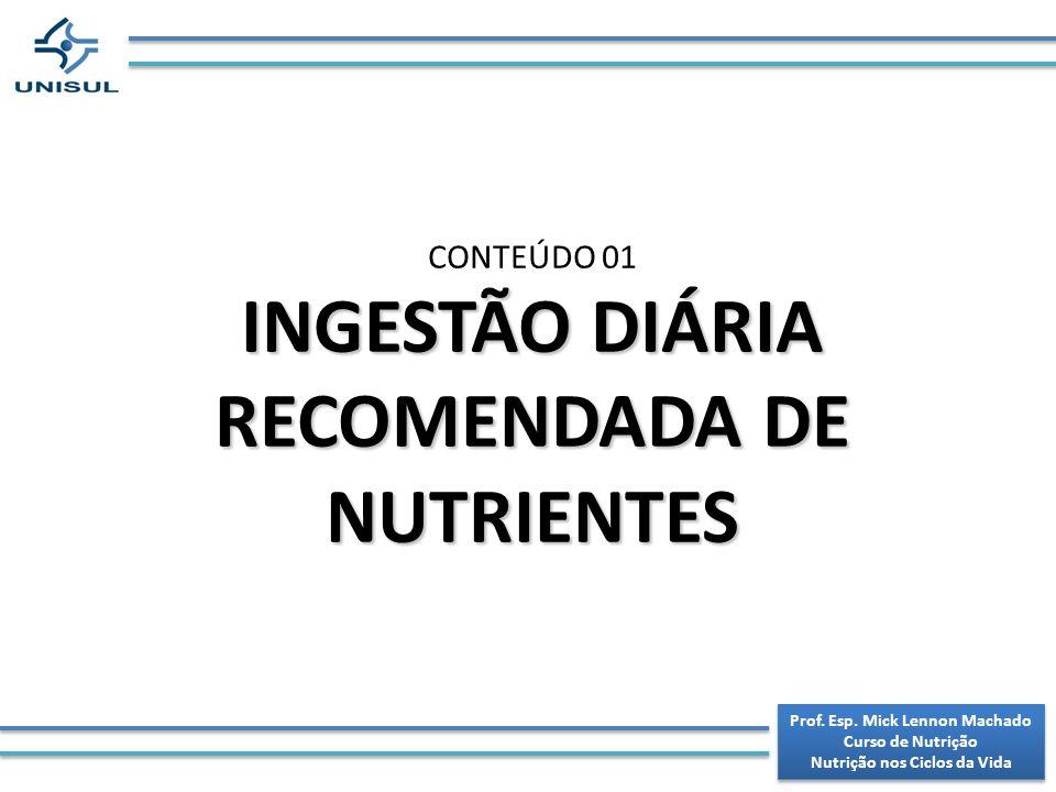 INGESTÃO DIÁRIA RECOMENDADA DE NUTRIENTES