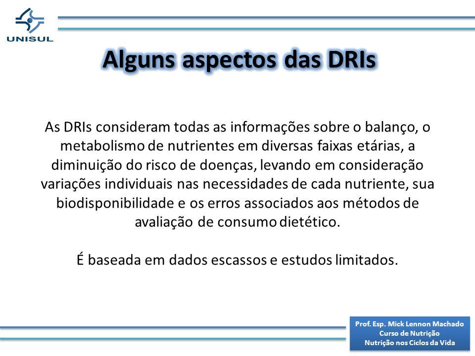 Alguns aspectos das DRIs