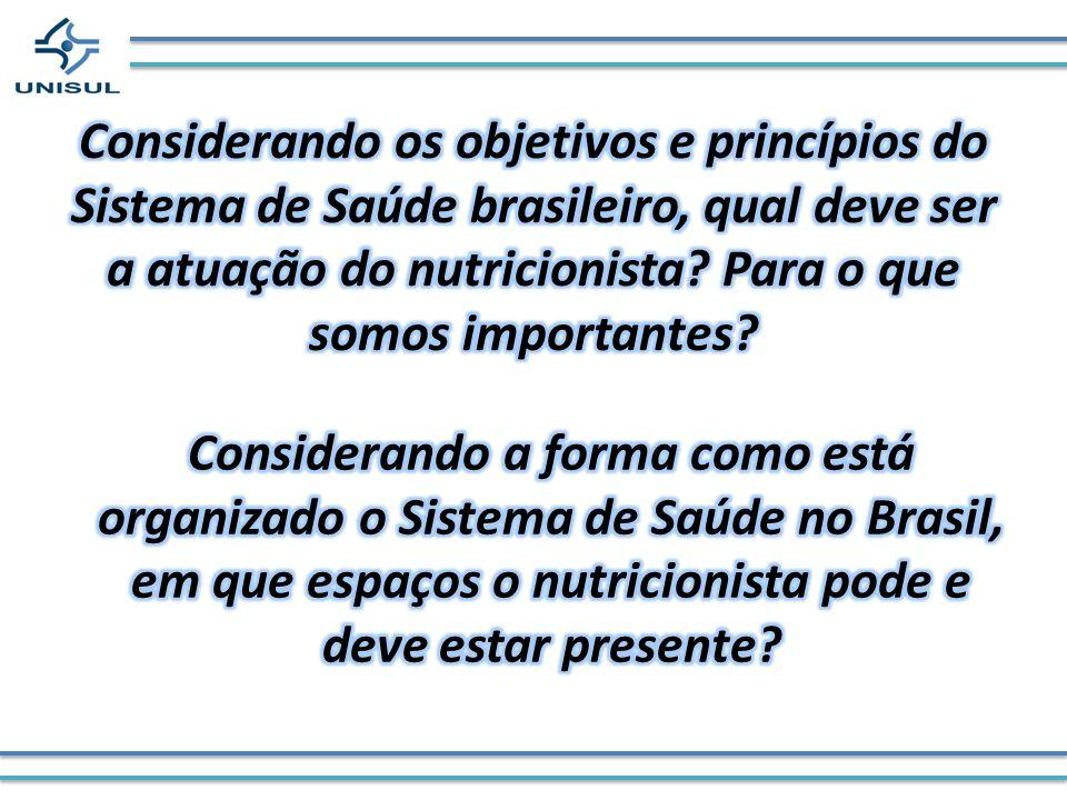 Considerando os objetivos e princípios do Sistema de Saúde brasileiro, qual deve ser a atuação do nutricionista Para o que somos importantes