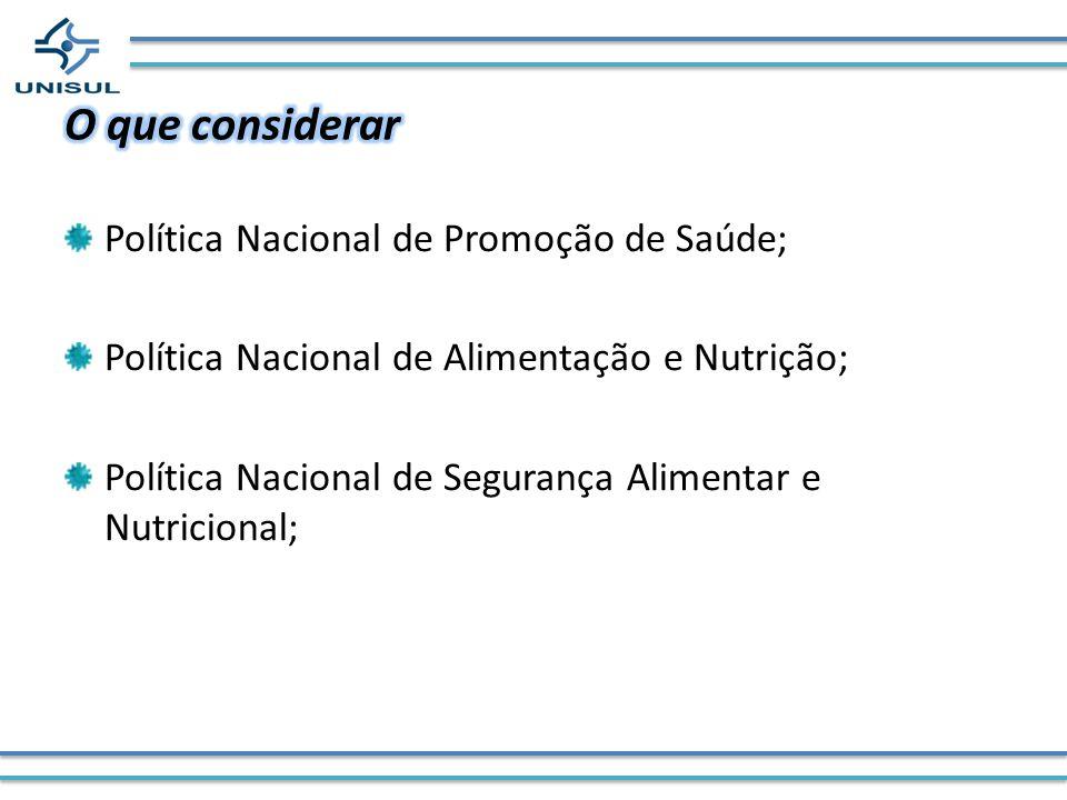 O que considerar Política Nacional de Promoção de Saúde;