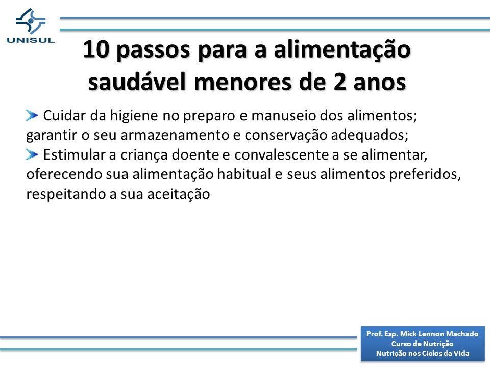 10 passos para a alimentação saudável menores de 2 anos