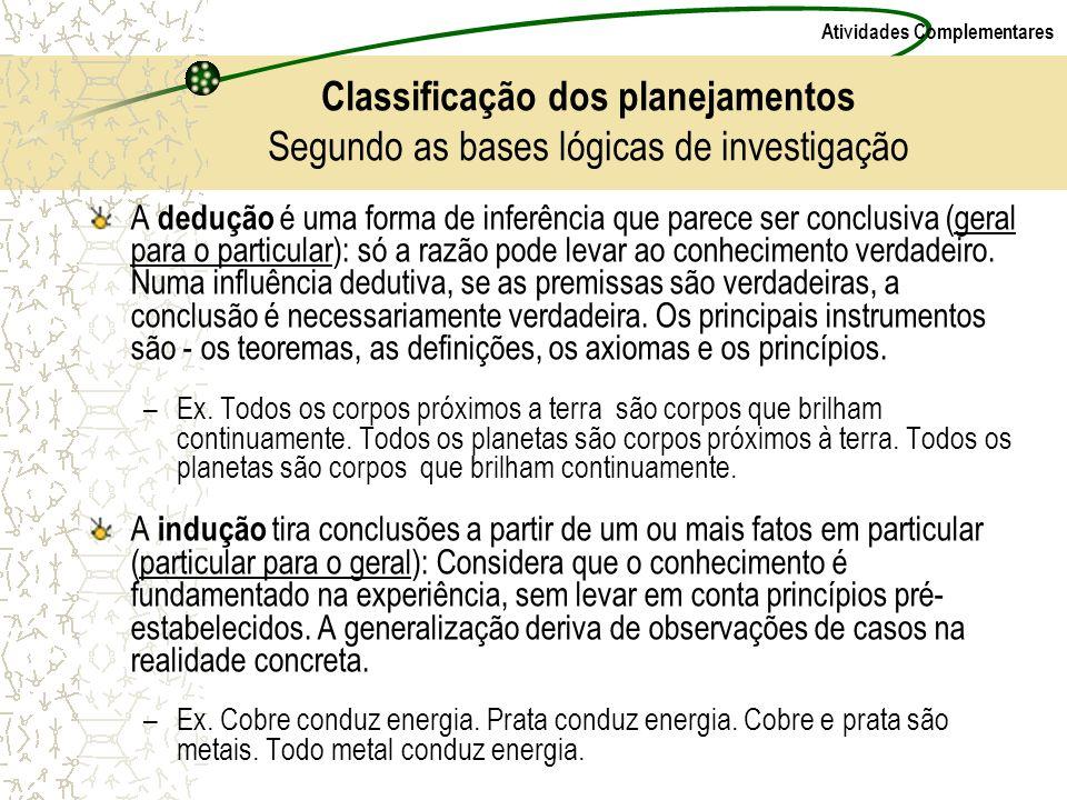 Classificação dos planejamentos Segundo as bases lógicas de investigação