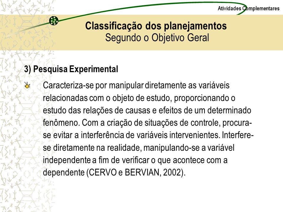 Classificação dos planejamentos Segundo o Objetivo Geral