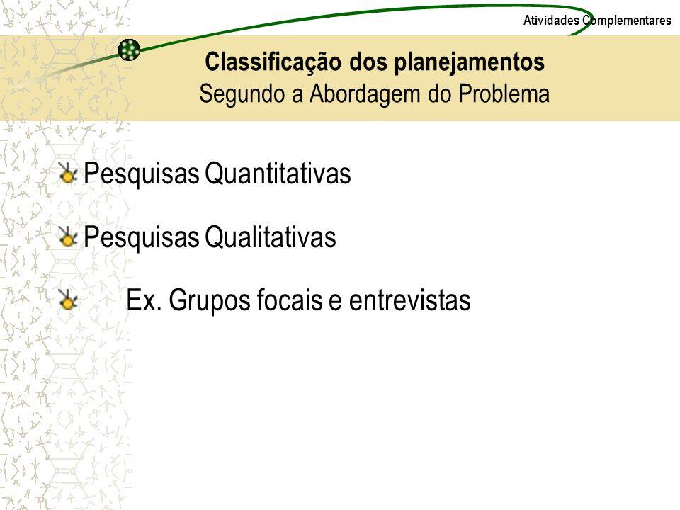 Classificação dos planejamentos Segundo a Abordagem do Problema