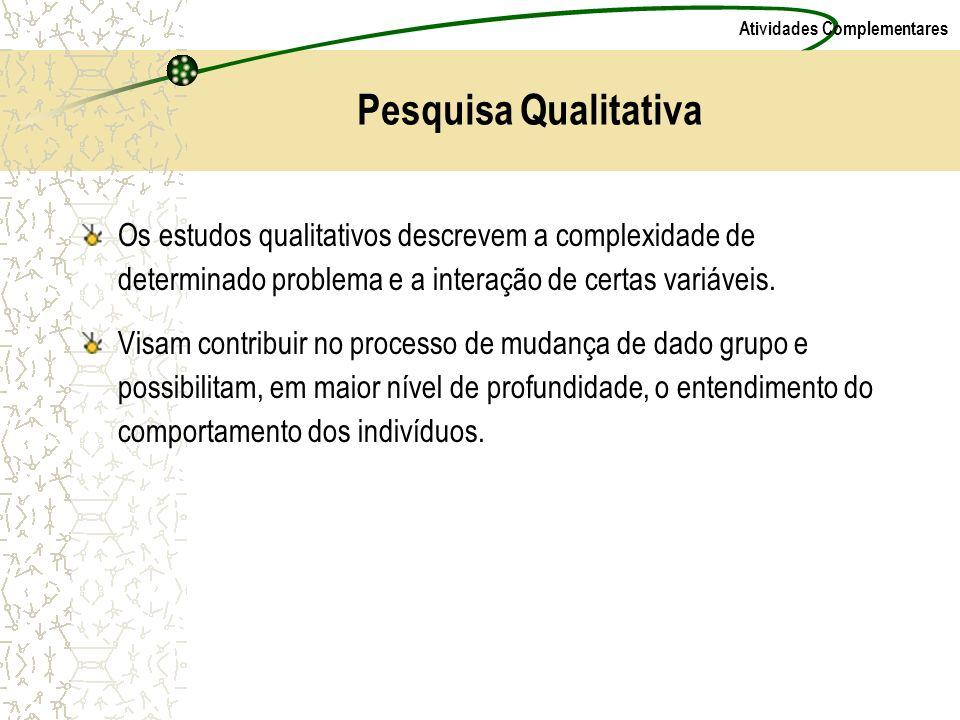 Pesquisa Qualitativa Os estudos qualitativos descrevem a complexidade de determinado problema e a interação de certas variáveis.