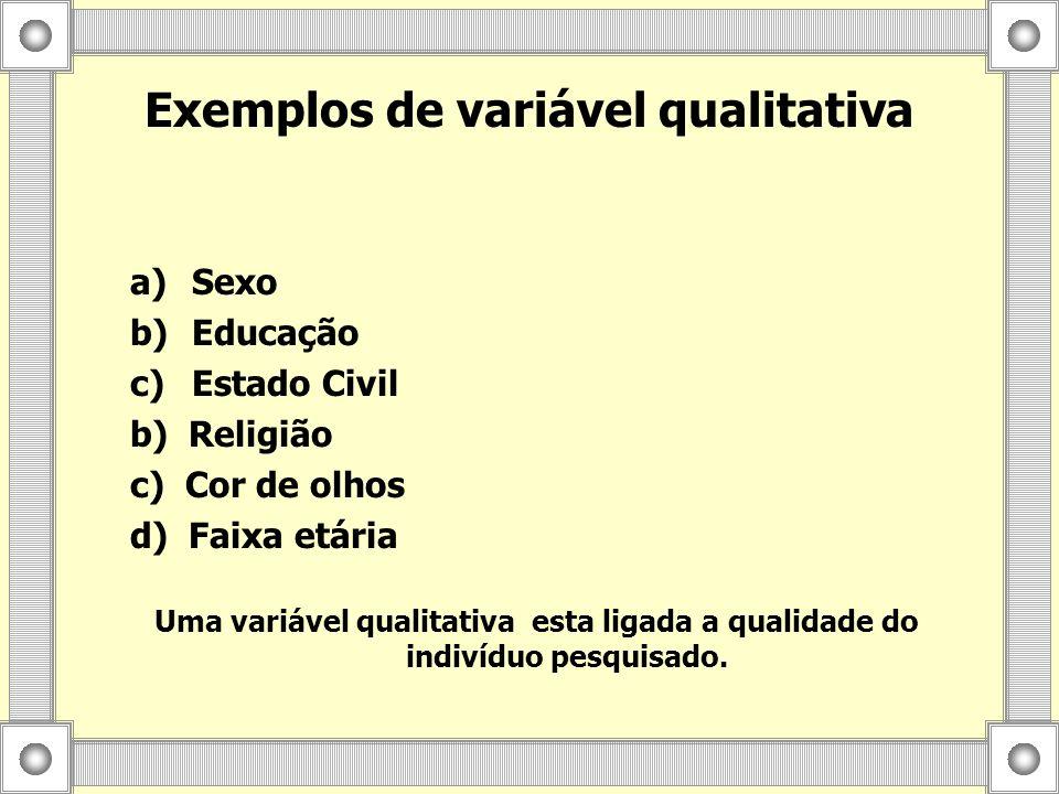 Exemplos de variável qualitativa