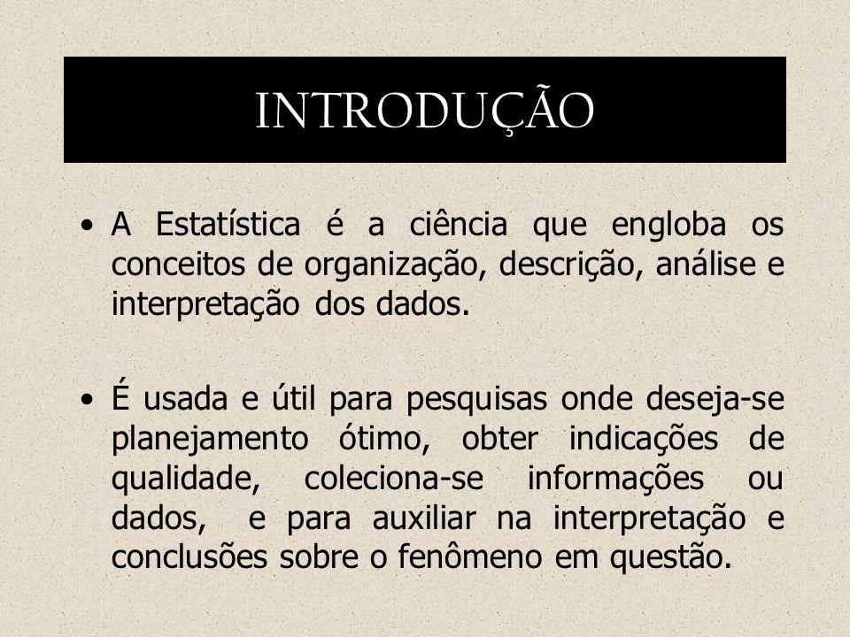 INTRODUÇÃOA Estatística é a ciência que engloba os conceitos de organização, descrição, análise e interpretação dos dados.