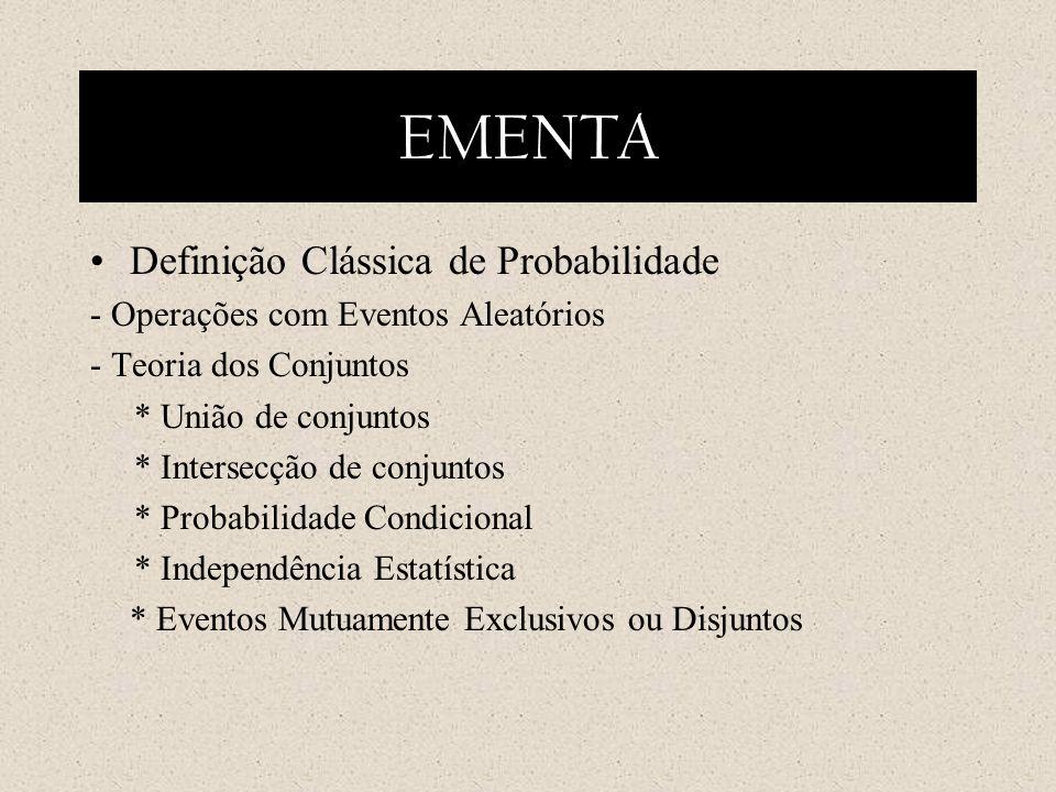 EMENTA Definição Clássica de Probabilidade