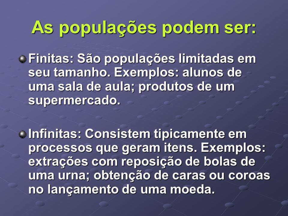 As populações podem ser: