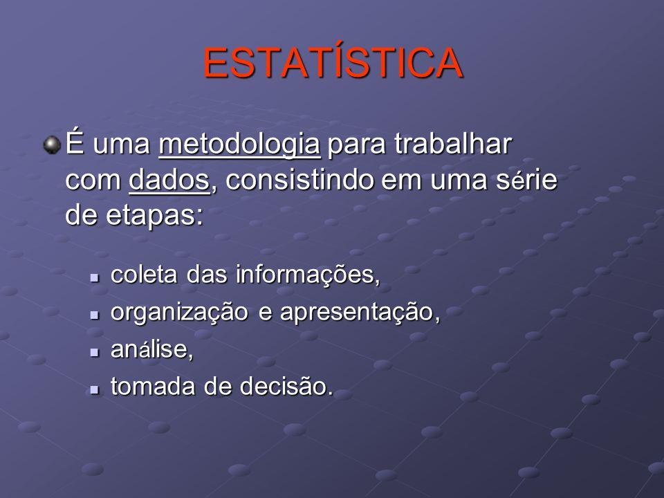 ESTATÍSTICA É uma metodologia para trabalhar com dados, consistindo em uma série de etapas: coleta das informações,