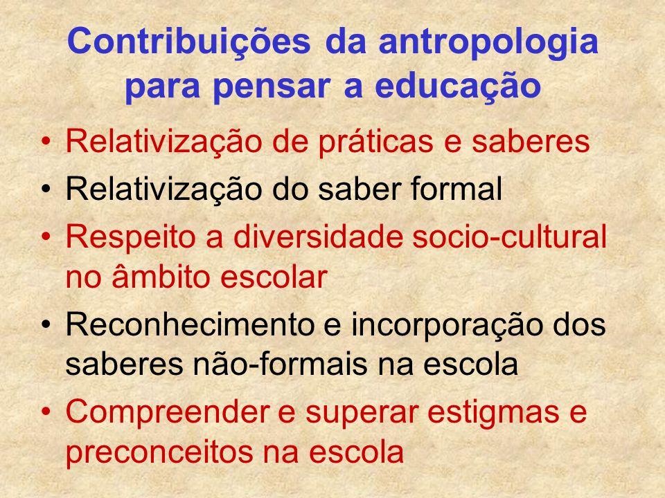Contribuições da antropologia para pensar a educação