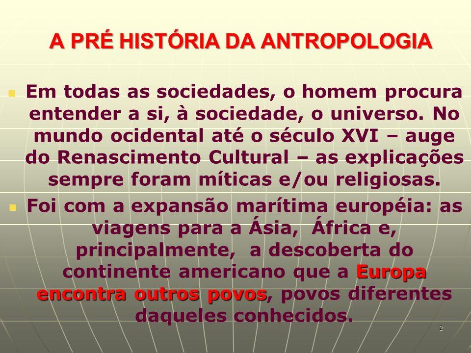 A PRÉ HISTÓRIA DA ANTROPOLOGIA