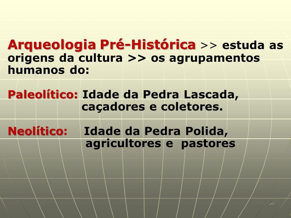Arqueologia Pré-Histórica >> estuda as origens da cultura >> os agrupamentos humanos do: