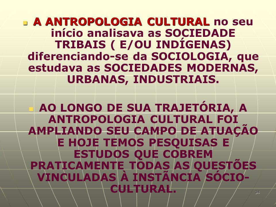 A ANTROPOLOGIA CULTURAL no seu início analisava as SOCIEDADE TRIBAIS ( E/OU INDÍGENAS) diferenciando-se da SOCIOLOGIA, que estudava as SOCIEDADES MODERNAS, URBANAS, INDUSTRIAIS.