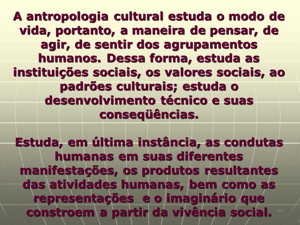 A antropologia cultural estuda o modo de vida, portanto, a maneira de pensar, de agir, de sentir dos agrupamentos humanos. Dessa forma, estuda as instituições sociais, os valores sociais, ao padrões culturais; estuda o desenvolvimento técnico e suas conseqüências.