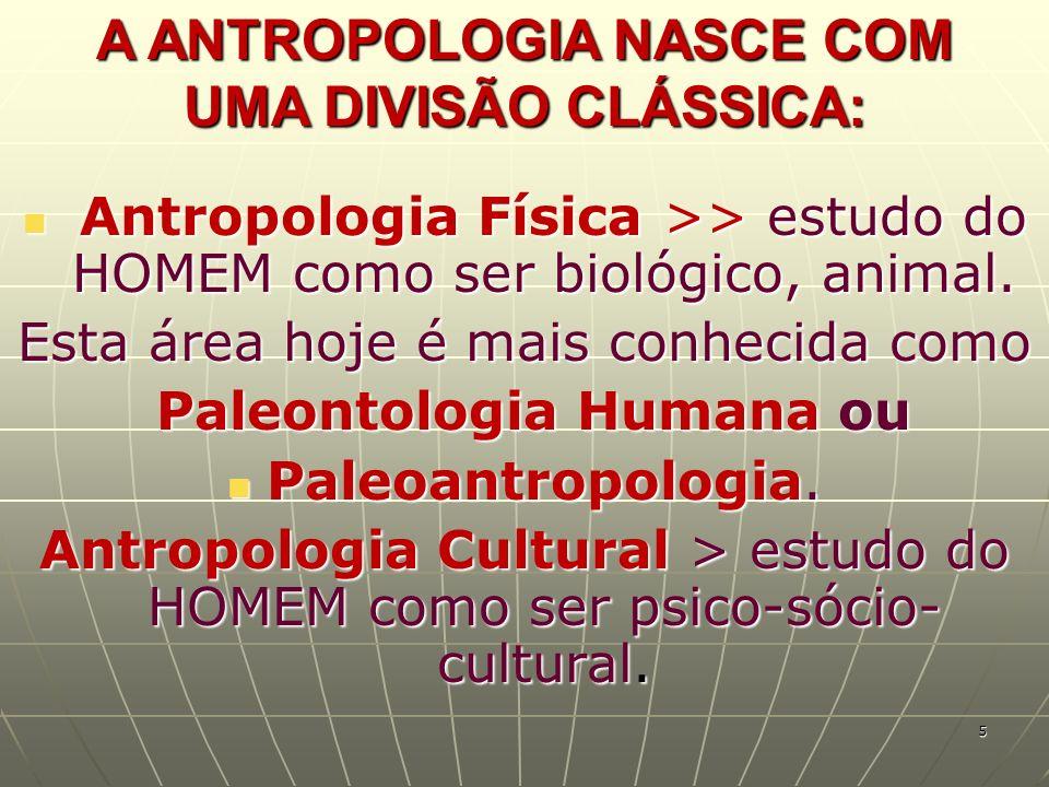 A ANTROPOLOGIA NASCE COM UMA DIVISÃO CLÁSSICA: