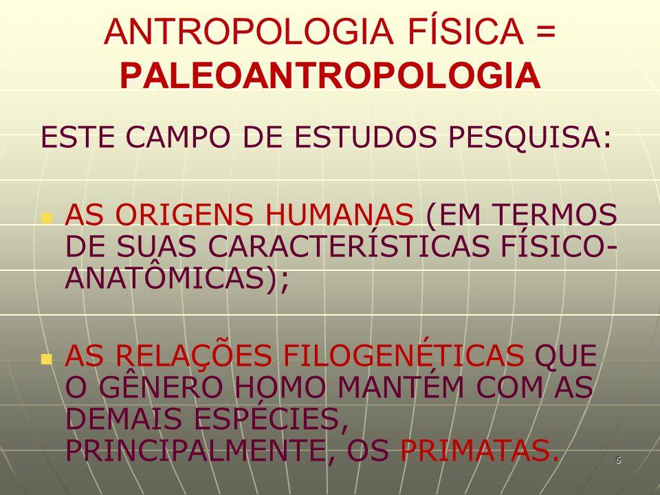 ANTROPOLOGIA FÍSICA = PALEOANTROPOLOGIA