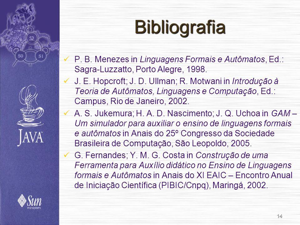 Bibliografia P. B. Menezes in Linguagens Formais e Autômatos, Ed.: Sagra-Luzzatto, Porto Alegre, 1998.
