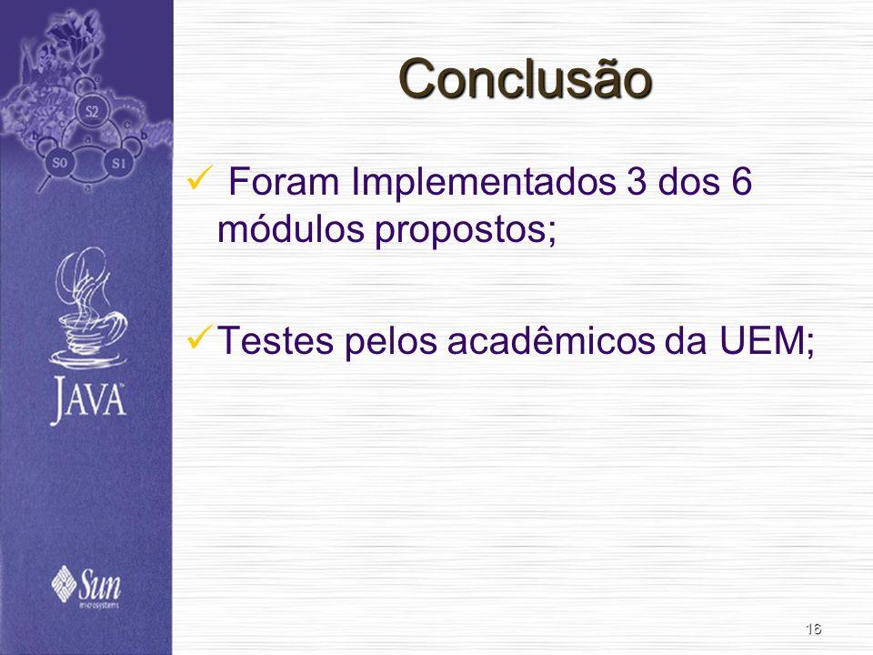 Conclusão Foram Implementados 3 dos 6 módulos propostos;