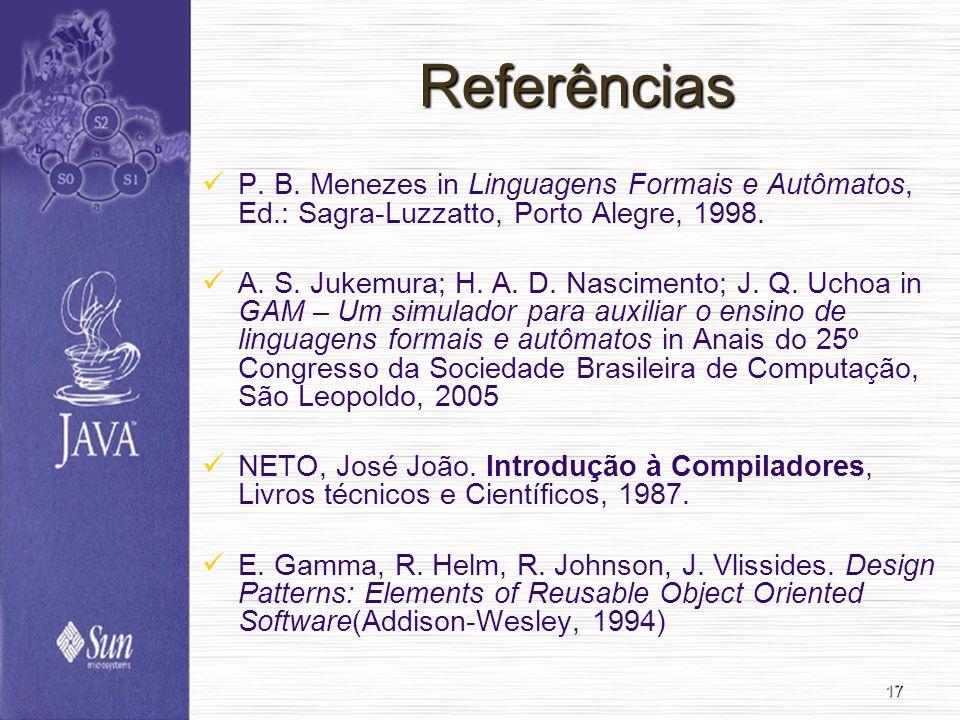 Referências P. B. Menezes in Linguagens Formais e Autômatos, Ed.: Sagra-Luzzatto, Porto Alegre, 1998.