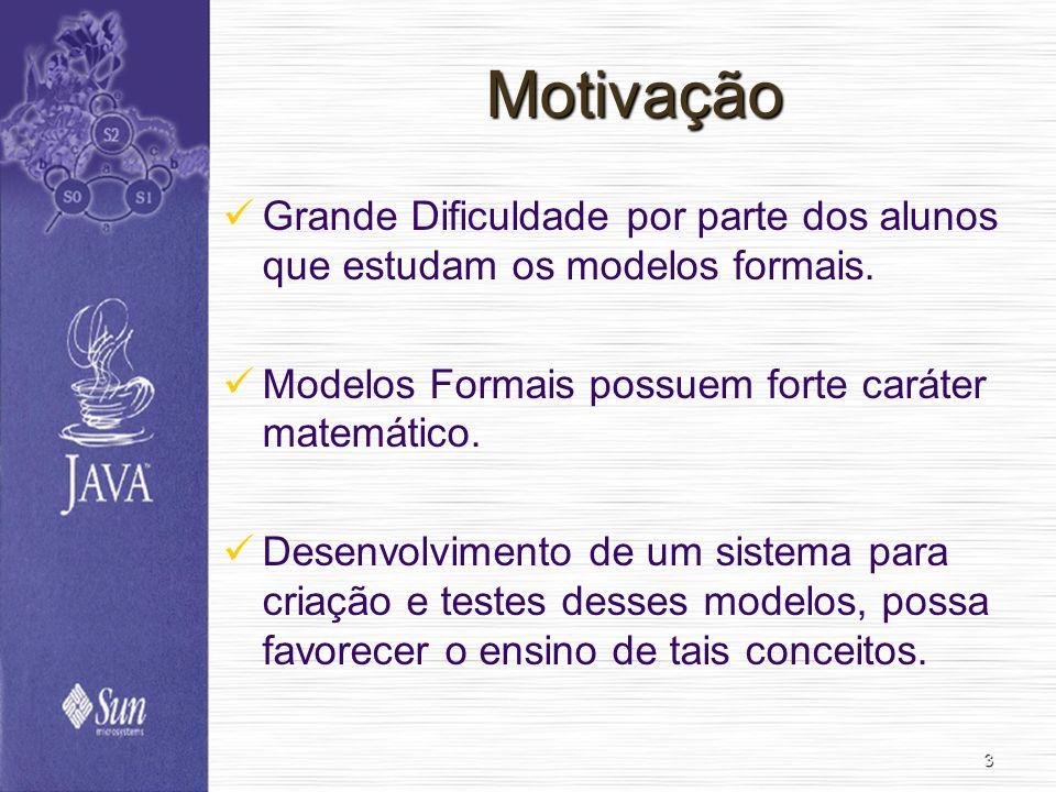 MotivaçãoGrande Dificuldade por parte dos alunos que estudam os modelos formais. Modelos Formais possuem forte caráter matemático.