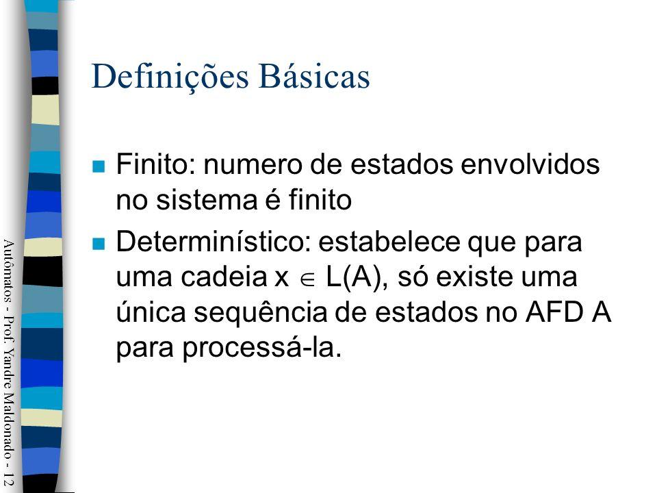 Definições Básicas Finito: numero de estados envolvidos no sistema é finito.
