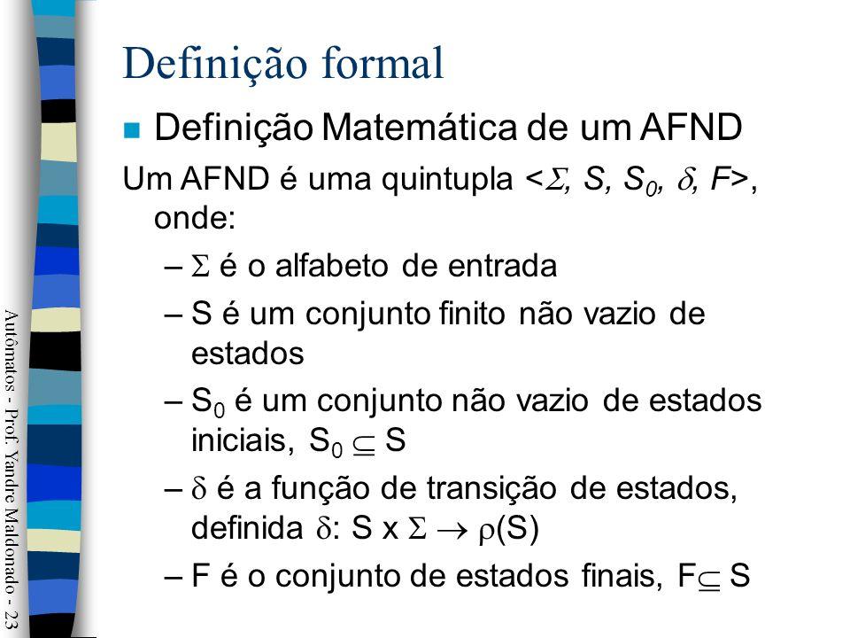 Definição formal Definição Matemática de um AFND