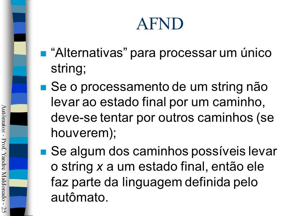 AFND Alternativas para processar um único string;