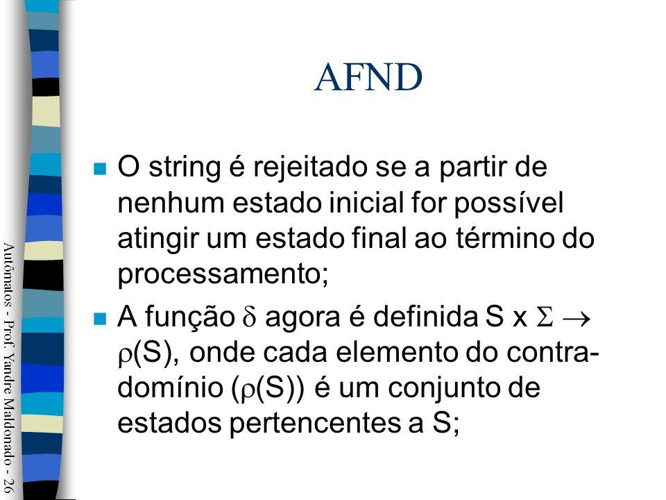 AFND O string é rejeitado se a partir de nenhum estado inicial for possível atingir um estado final ao término do processamento;