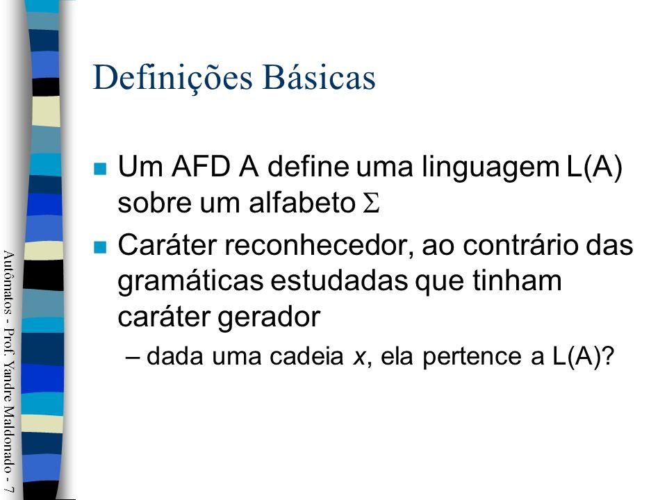 Definições Básicas Um AFD A define uma linguagem L(A) sobre um alfabeto 