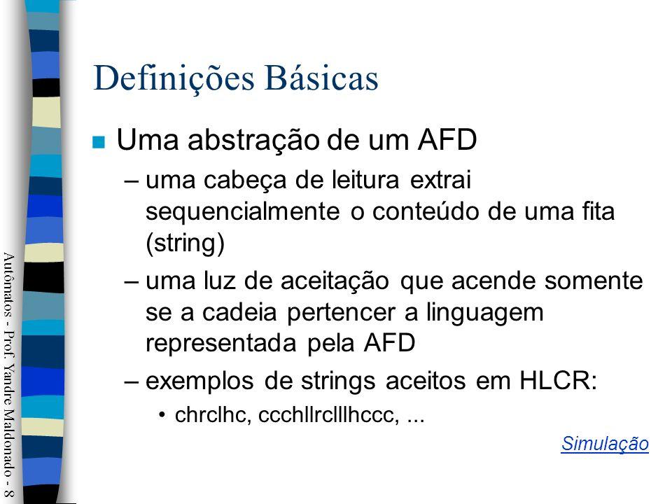 Definições Básicas Uma abstração de um AFD