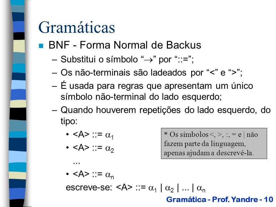 Gramáticas BNF - Forma Normal de Backus