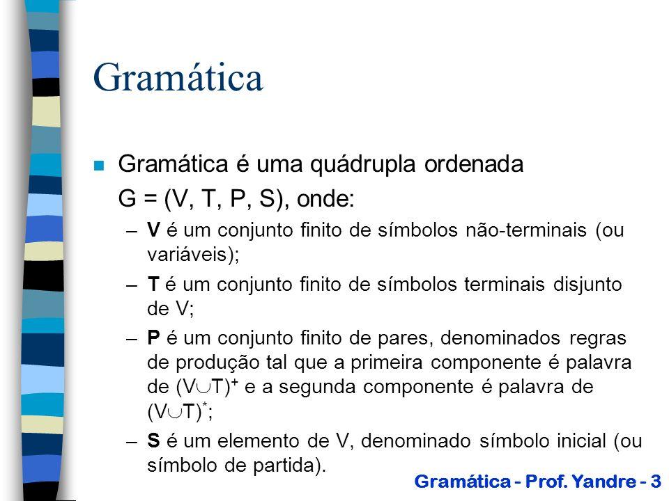 Gramática Gramática é uma quádrupla ordenada G = (V, T, P, S), onde: