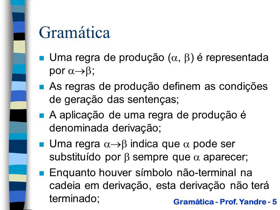 Gramática Uma regra de produção (, ) é representada por ;
