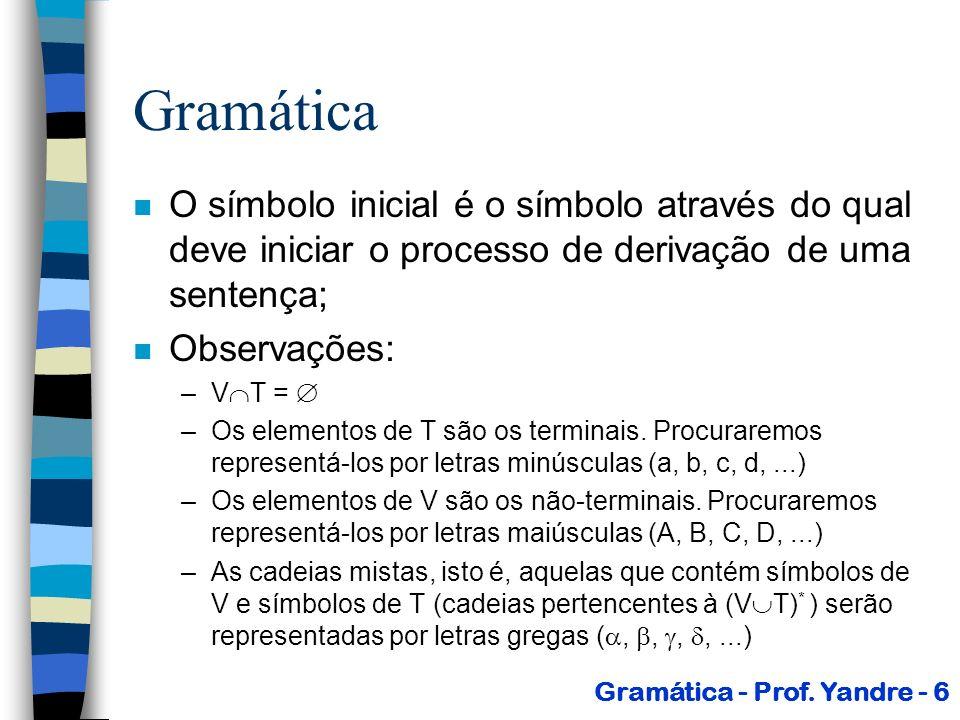 Gramática O símbolo inicial é o símbolo através do qual deve iniciar o processo de derivação de uma sentença;