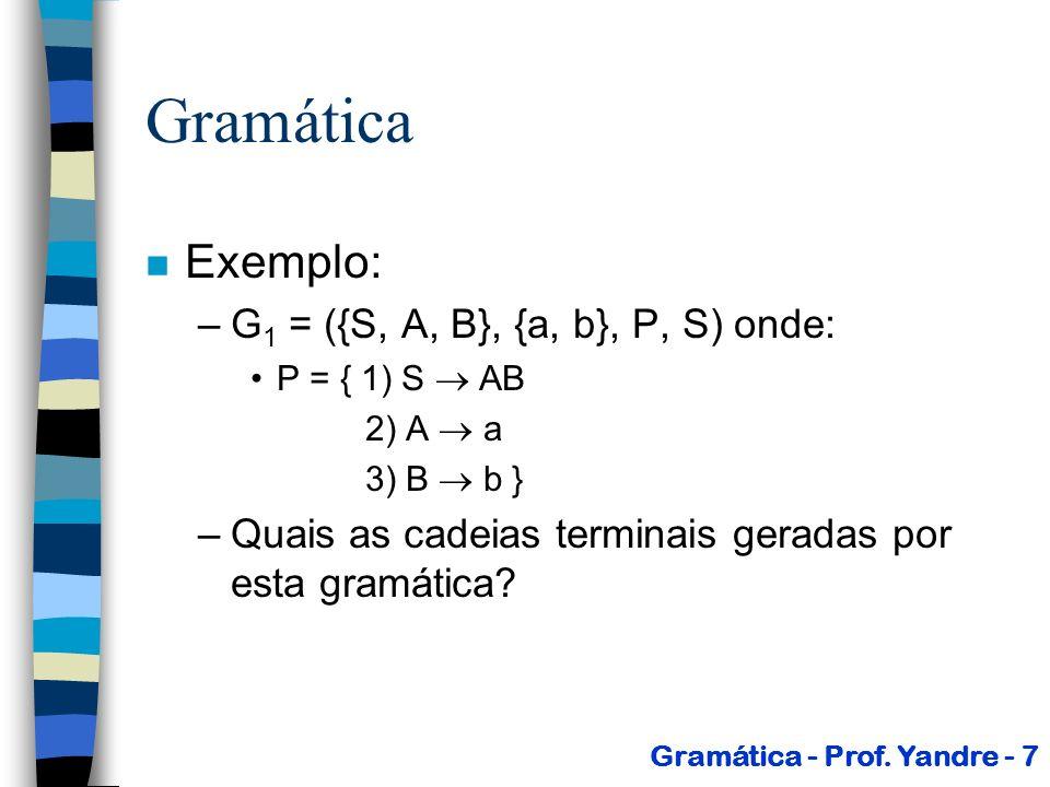 Gramática Exemplo: G1 = ({S, A, B}, {a, b}, P, S) onde: