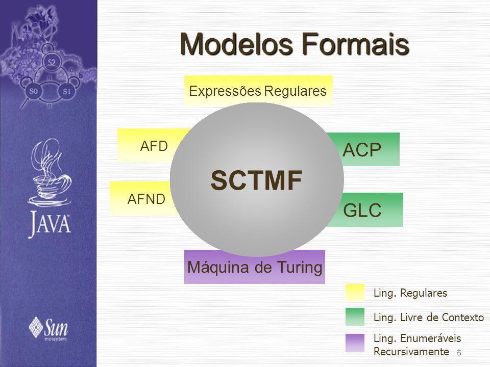 Modelos Formais SCTMF ACP GLC Máquina de Turing Expressões Regulares