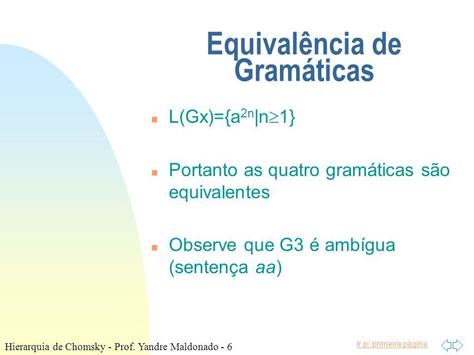 Equivalência de Gramáticas