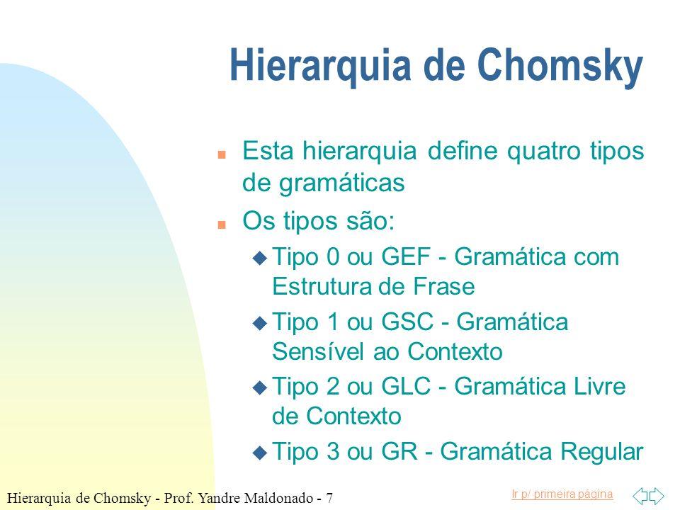 Hierarquia de Chomsky Esta hierarquia define quatro tipos de gramáticas. Os tipos são: Tipo 0 ou GEF - Gramática com Estrutura de Frase.