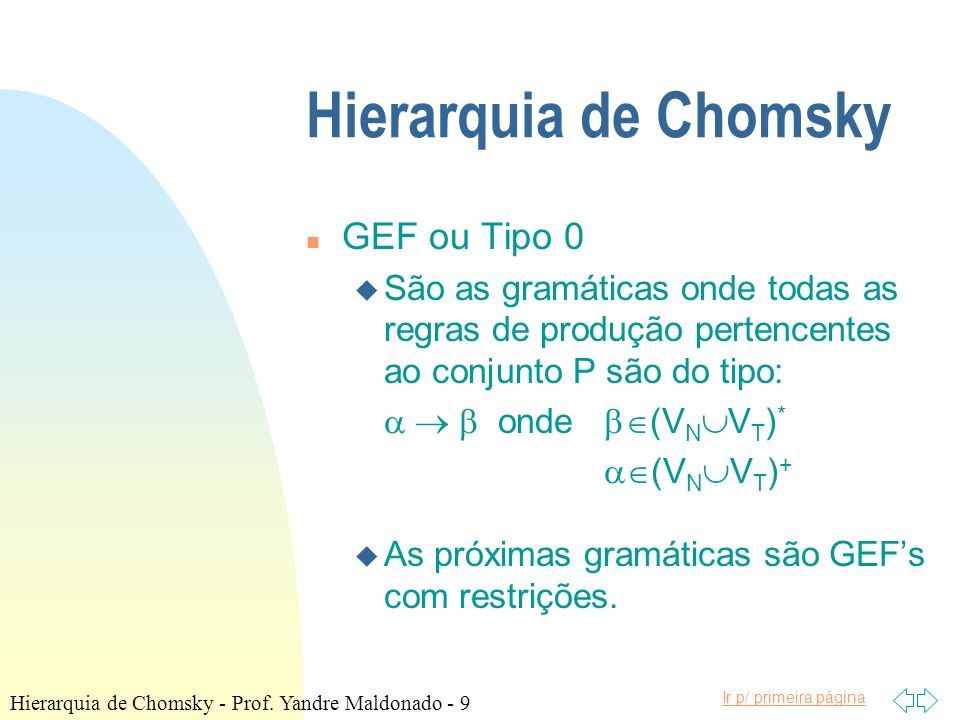 Hierarquia de Chomsky GEF ou Tipo 0