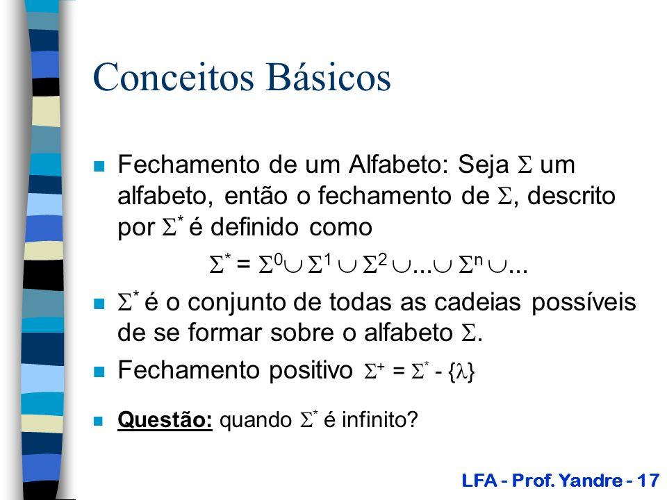 Conceitos Básicos Fechamento de um Alfabeto: Seja  um alfabeto, então o fechamento de , descrito por * é definido como.