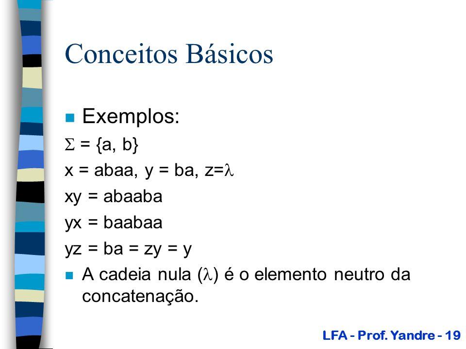 Conceitos Básicos Exemplos:  = {a, b} x = abaa, y = ba, z=