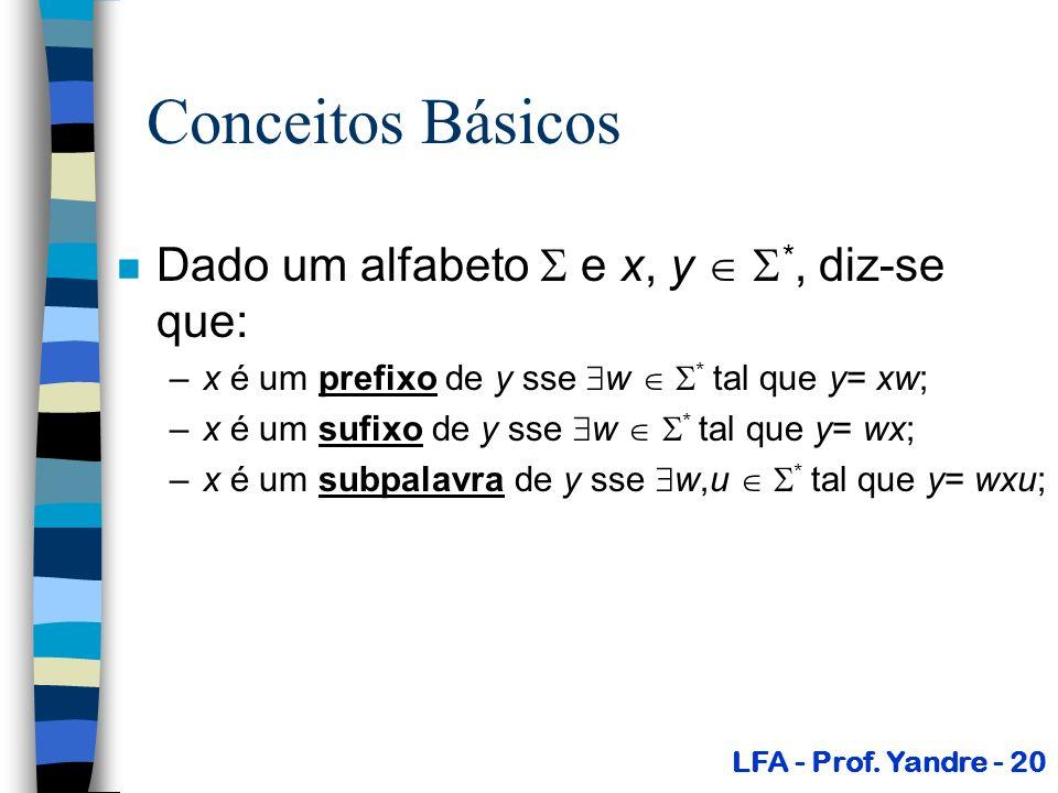 Conceitos Básicos Dado um alfabeto  e x, y  *, diz-se que: