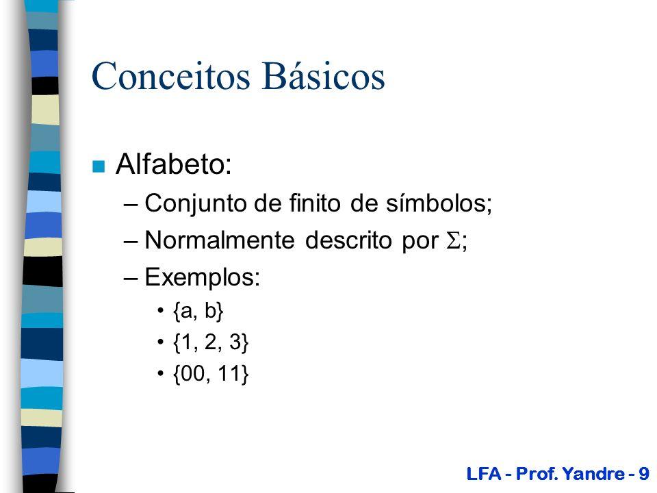 Conceitos Básicos Alfabeto: Conjunto de finito de símbolos;