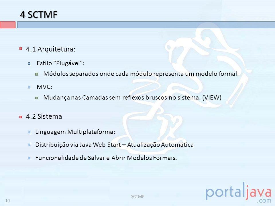 4 SCTMF 4.1 Arquitetura: 4.2 Sistema Estilo Plugável :