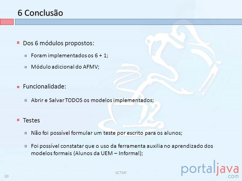 6 Conclusão Dos 6 módulos propostos: Funcionalidade: Testes